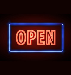 Neon sign open vintage electric signboard vector