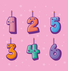 numbers candles kawaii comic characters vector image
