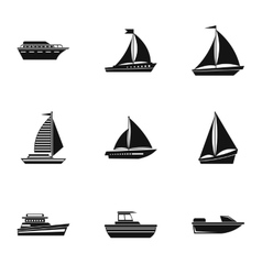 Ocean transport icons set simple style vector