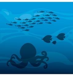 Octupus and fish icon sea life design vector
