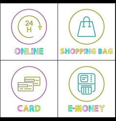 online shopping posters set vector image