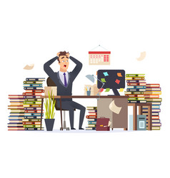 overworked businessman stressed frustrated vector image