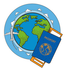 Passport ticket globe plane resorts and tourism vector