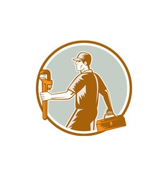 Plumber Carry Toolbox Wrench Circle Woodcut vector