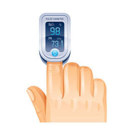 Pulse oximeter finger medical device icon corona vector