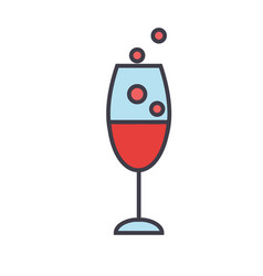 Red wine glass drinking champagne concept line vector