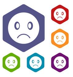 Sad emoticon icons set vector