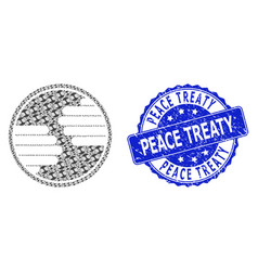 Scratched peace treaty round seal stamp and vector