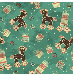 Seamless pattern with horses and gifts vector