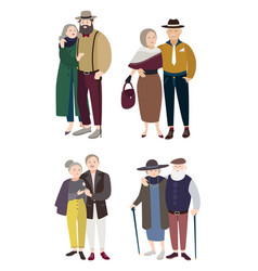 senior couples in love relationships with aged vector image vector image