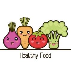 set cartoon healthy food vegetables design vector image