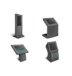 Set interactive information kiosks vector