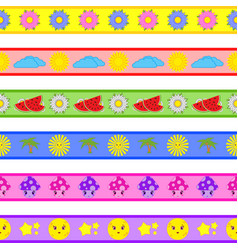 set of cartoon seamless patterns vector image