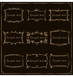 Set of gold frames in vintage style vector