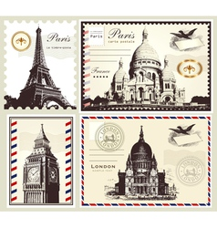 set paris and london symbols vector image