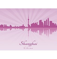 Shanghai skyline in purple radiant orchid vector
