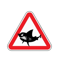 Sign of attention to shark Red triangle with vector