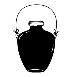 Silhouette middle mason jar with wire handle vector