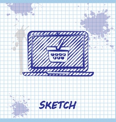 sketch line shopping basket on screen laptop icon vector image