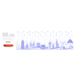 smart city concept with different iot icon vector image