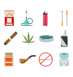 smoking icons set cigarette pipe vape hookah vector image