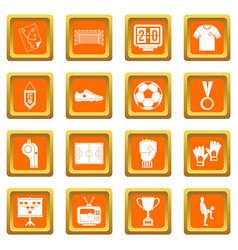 Soccer football icons set orange vector