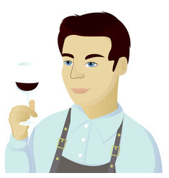 Sommelier man isolated vector