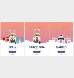 spain time to travel set of travel posters vector image