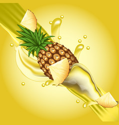 Splash pineapple juice in motion vector