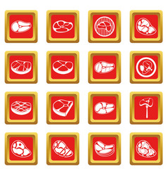 Steak icons set red vector