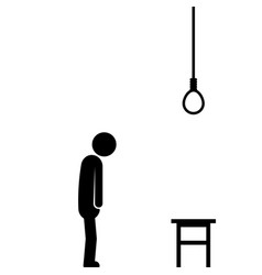 Suicide by hanging with stick figure vector
