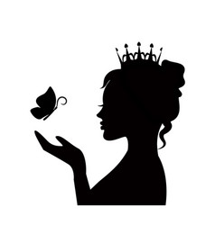 Tender princess with butterfly vector