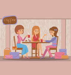 Three beautiful women talking at coffee shop while vector