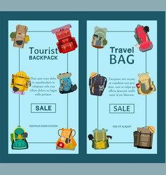 Tourist camping backpack set banners travel vector