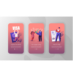 Travelers approve visa mobile app page onboard vector
