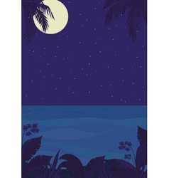 Tropical night ocean landscape vector