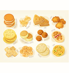 various kinds pancakes vector image