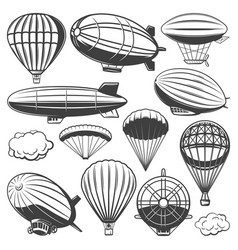 Vintage airship collection vector