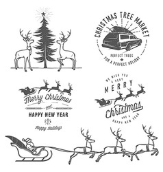 Vintage Christmas design elements vector image