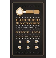 Vintage poster menu coffee factory in retro style vector
