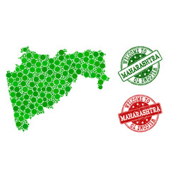 Welcome collage of map of maharashtra state and vector