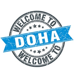 Welcome to Doha blue round vintage stamp vector
