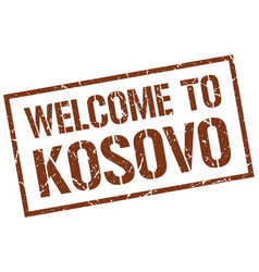 Welcome to kosovo stamp vector