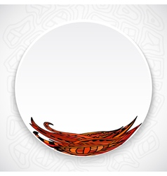 White plate with red floral ornament tribal style vector image