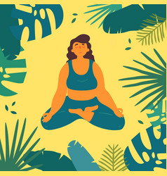 woman in lotus yoga ardha padmasana asana pose vector image