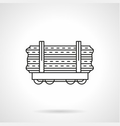 Wood rail freights flat line icon vector