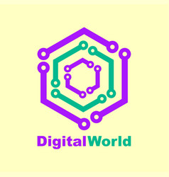 world tech logo design template digital vector image