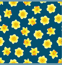 Yellow daffodil - narcissus flower on indigo blue vector