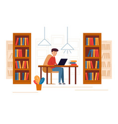 Young man sitting in library and reading vector
