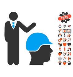 Builder management icon with valentine bonus vector